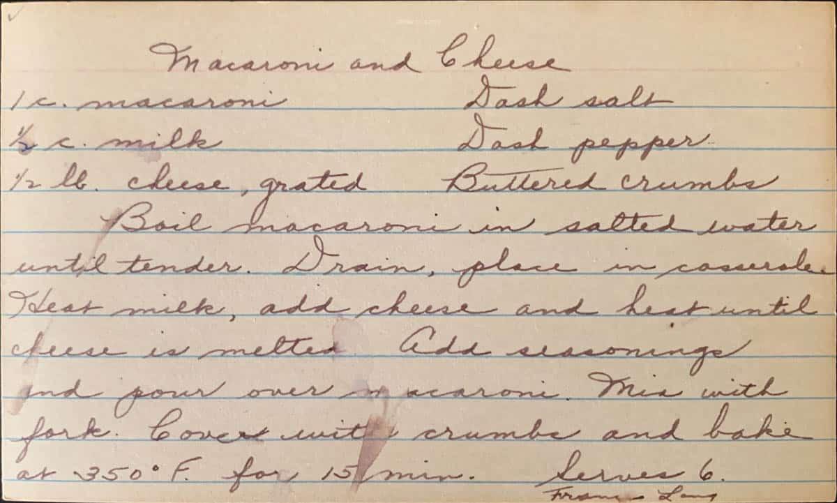 Original handwritten mid century recipe for macaroni and cheese