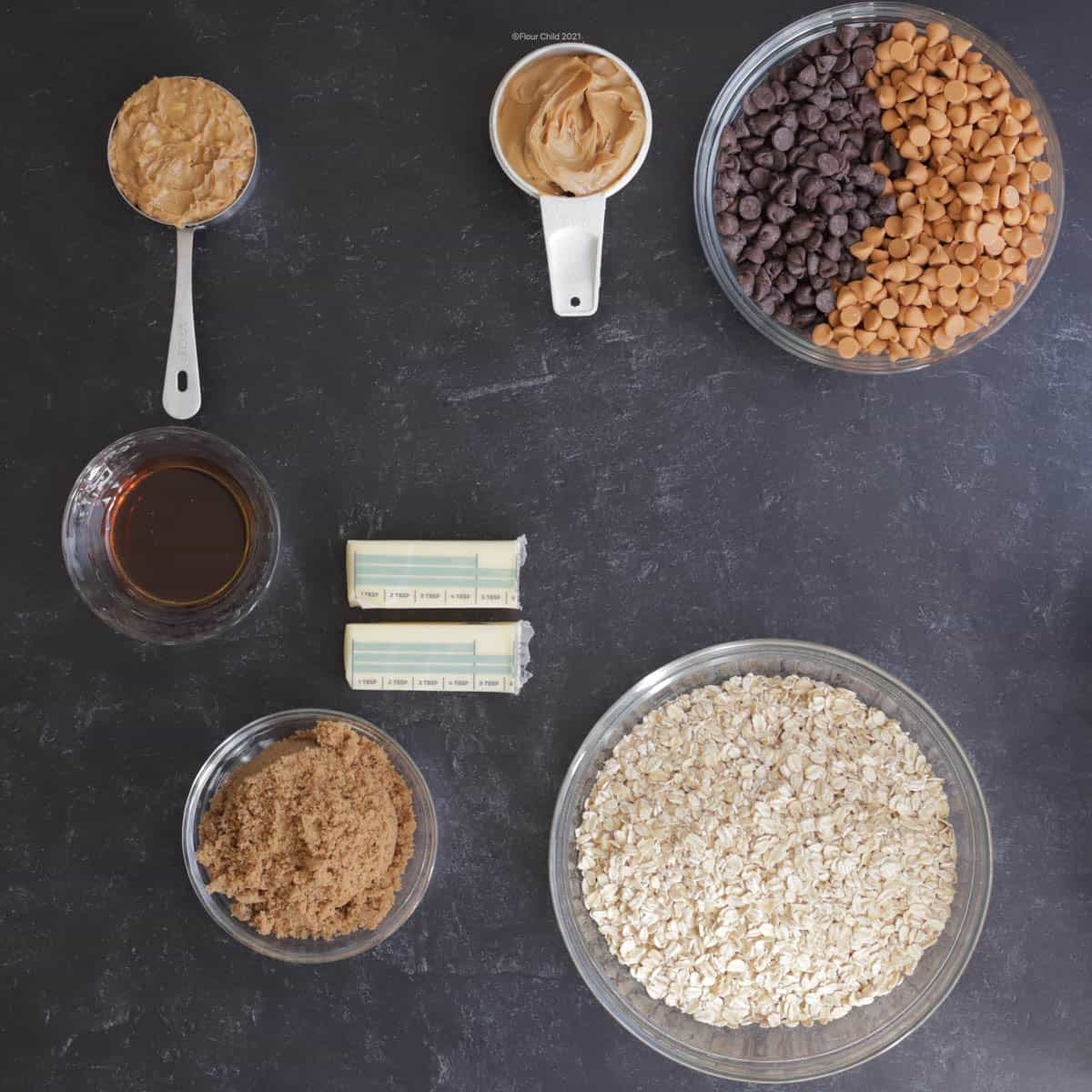 Ingredients for peanut butter oatmeal bars