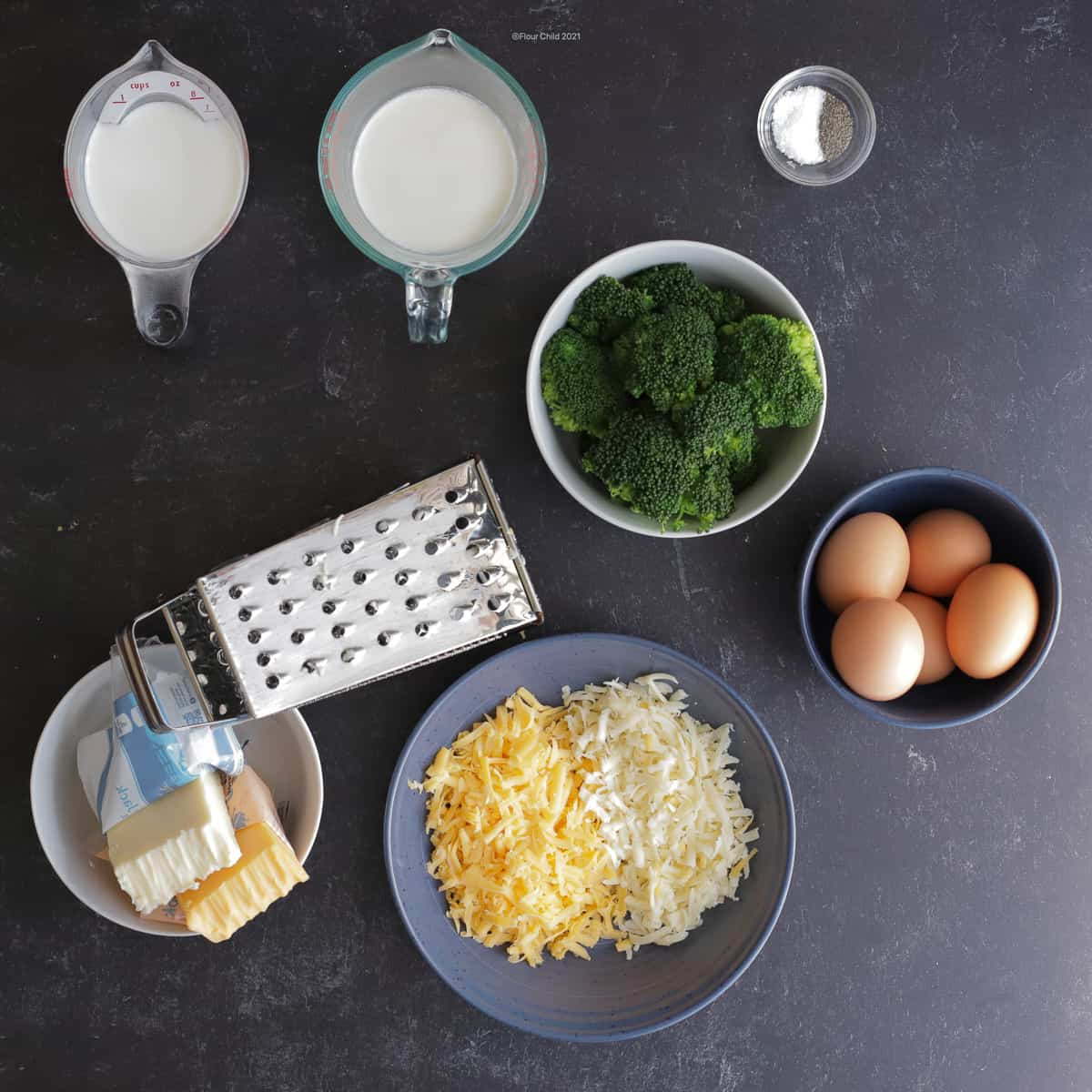 Ingredients for broccoli & cheddar jack cheese quiche