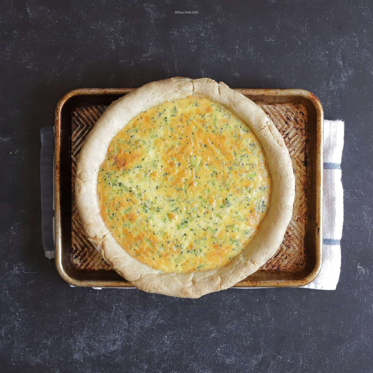 Baked quiche just removed from the oven