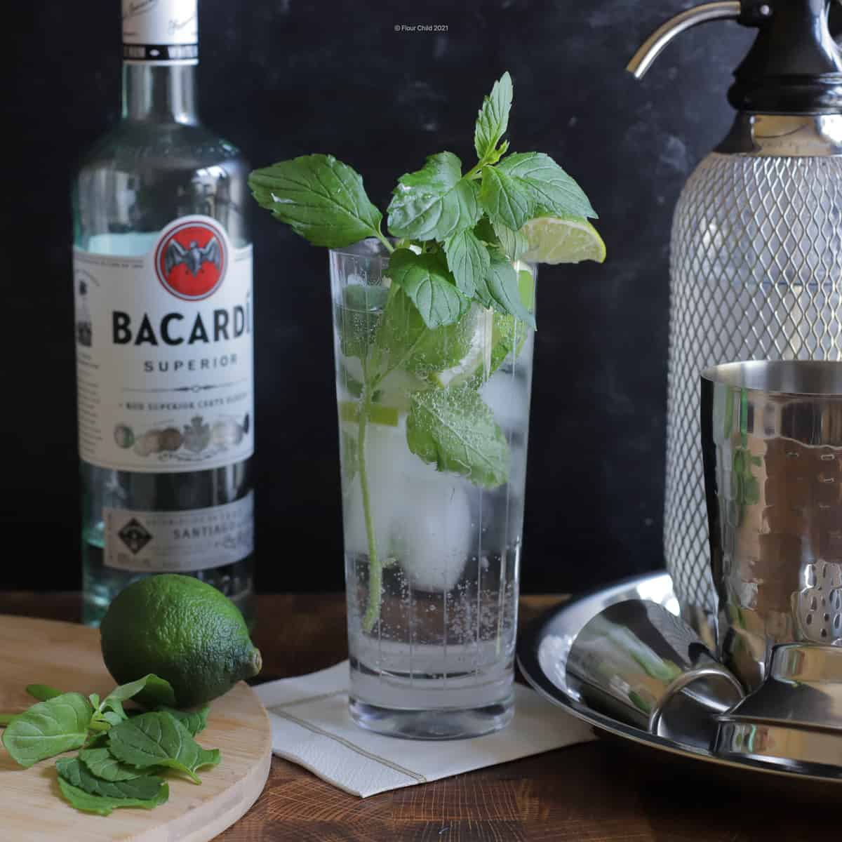 Mojito cocktail in a highball glass chunks of lime and mint leaves