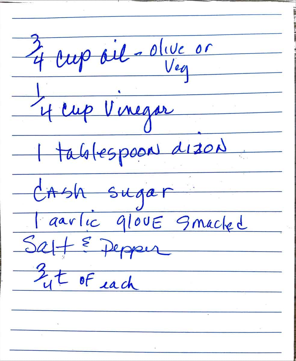 Original handwritten recipe for vinegar and oil dressing