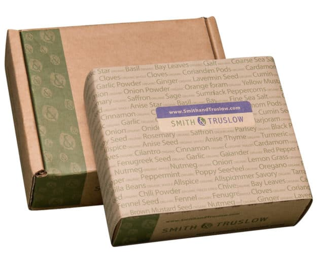Two closed gift boxes of smith and truslow spices
