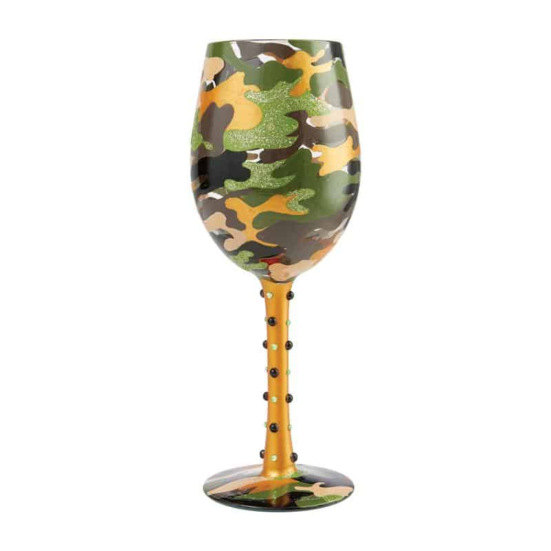 Hand painted black, green and gold camouflage white wine glass