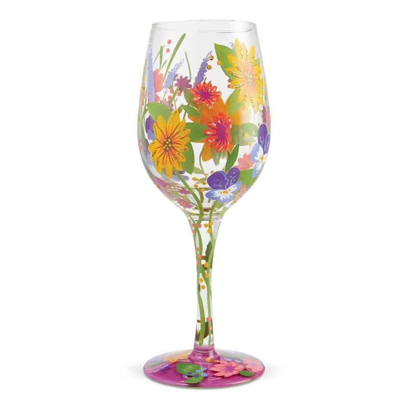 Handpainted multi colored floral white wine glass