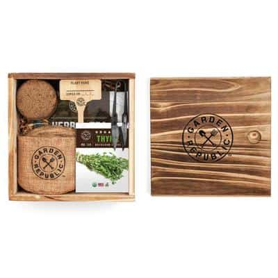 Herb garden shown packed as a gift set