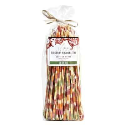 multicolored rainbow linguini pasta in a clear cellophane package