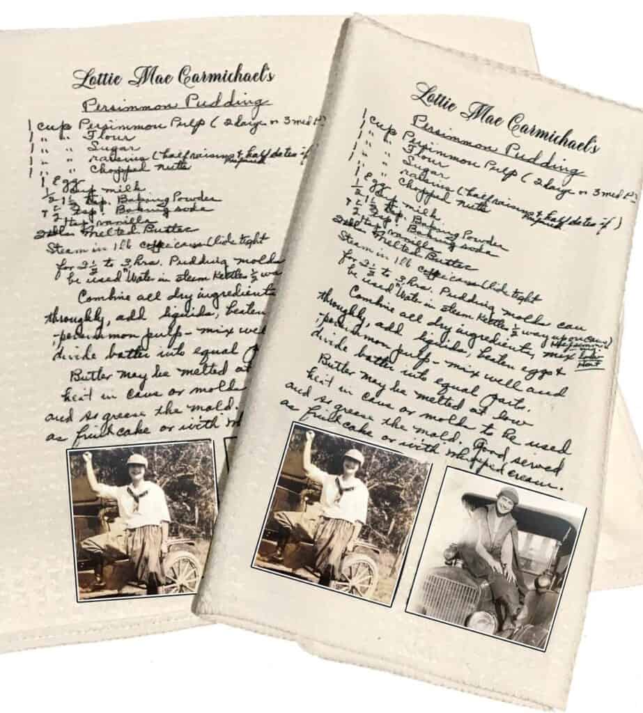 Two recipe towels side by side with a handwritten recipe and two photos on each