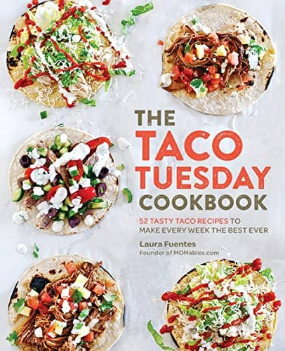 Book cover of The Taco Tuesday Cookbook with 5 photos of tacos on the front