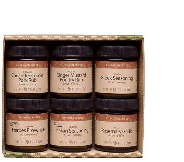 Six spice jars shown packaged in a gift box