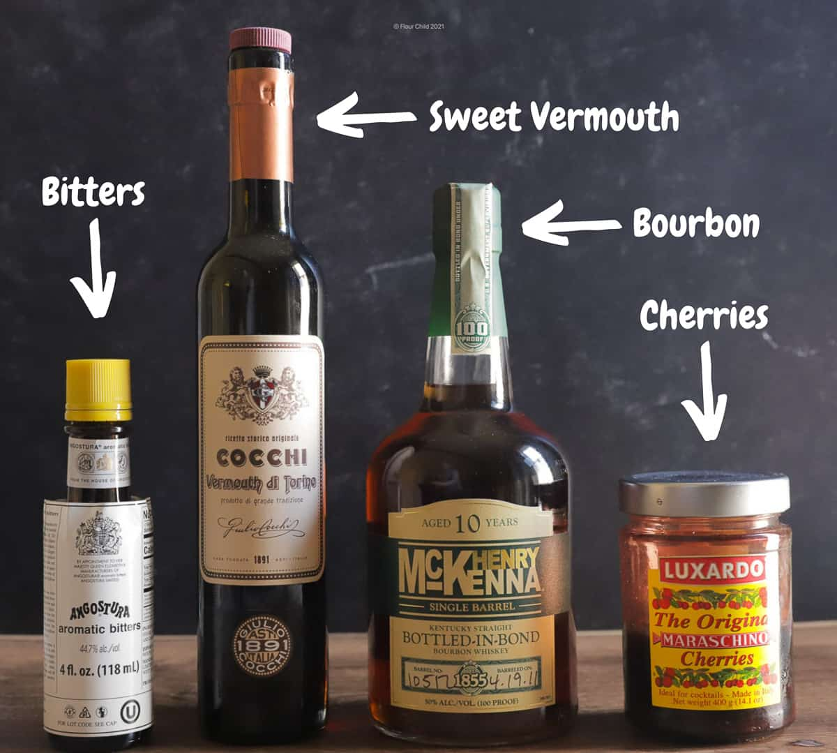 My favorite bourbon Manhattan recipe is simply great bourbon, bitters and sweet vermouth--add a cherry or two for garnish.